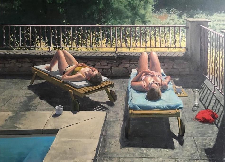 """Сэм Рахамин. Tea time by the pool. Oil on linen 100X130 c""""m. Предоставлено галереей «Ротшильд»."""