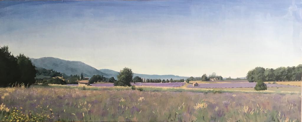 Сэм Рахамин. Lavender fields near sault. Oil on wood 123X50.5 . Предоставлено галереей «Ротшильд».