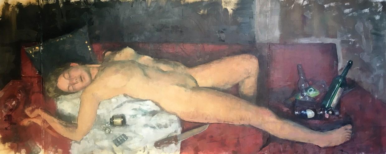 Сэм Рахамин. Jocastas overdose. Oil on linen 162×65. Предоставлено галереей «Ротшильд