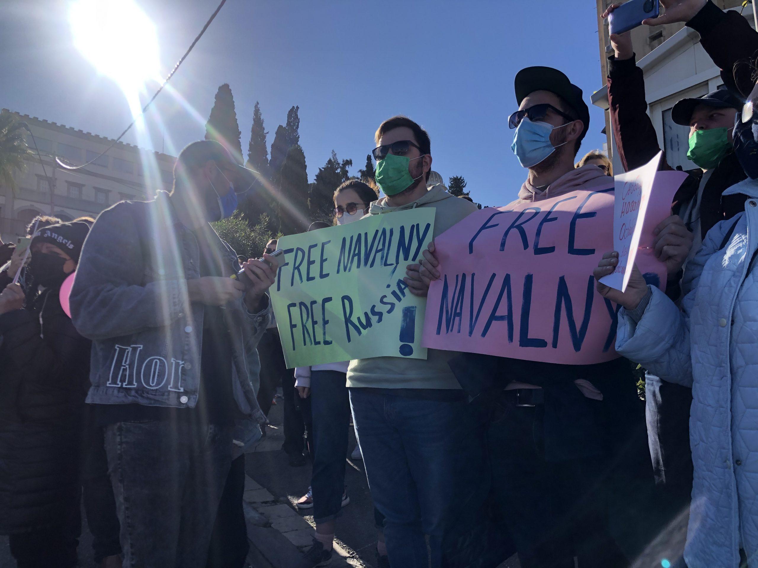 Солидарность: русскоязычные израильтяне на демонстрации в защиту Алексея Навального. Хайфа. Фото: Елена Шафран