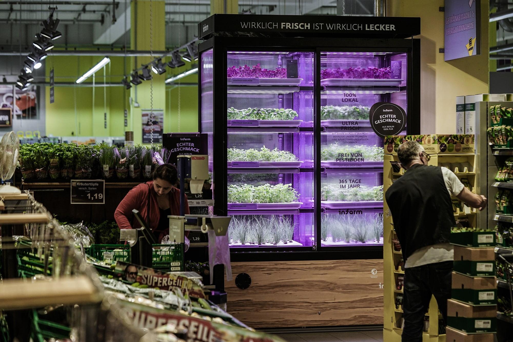 Облачное земледелие: ферма в супермаркете, в Германии. Фото Крогер NoCamel